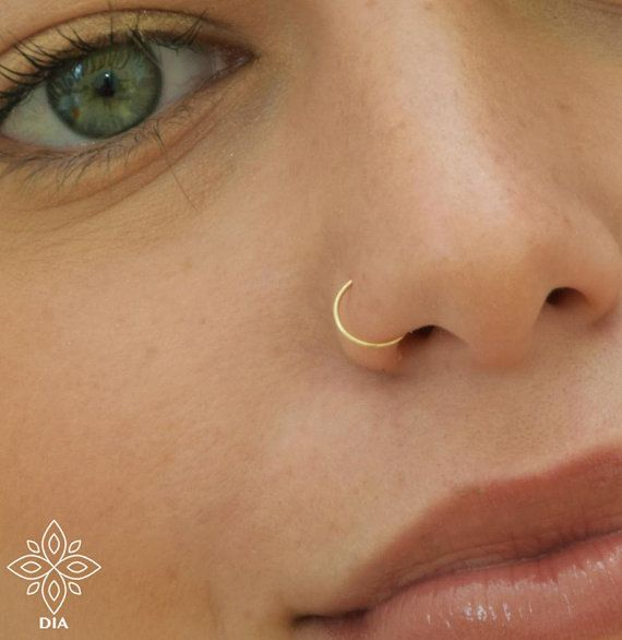 Solid Gold 14k Nose Hoopplain Cartilagetragus Helix Nose Etsy In 2020 Nose Earrings Nose Piercing Hoop Gold Nose Rings