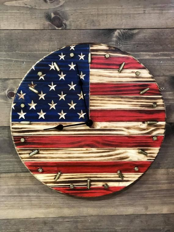 Rustic American Flag Clock Patriotic Flag Bullet Clock Etsy Rustic American Flag American Flag Wood Wooden American Flag