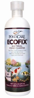 Brand New, MARS FISHCARE NORTH AMERICA, - POND ECOFIX 8OZ (POND PRODUCTS - POND - WATER CARE) by MARS FISHCARE NORTH AMERICA,. $12.83. Brand New, MARS FISHCARE NORTH AMERICA, - POND ECOFIX 8OZ (POND PRODUCTS - POND - WATER CARE)  Bacterial Pond Clarifier •Bacterial pond clarifier helps create a healthy ecosystem for pond fish. By digesting sludge, and reducing organics, EcoFix increases oxygen levels and makes pond water clean and clear. Helps create a healthy...