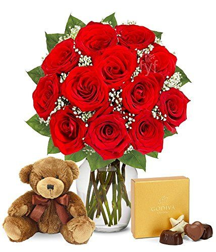 Valentine's Day Flowers – One Dozen Red Roses with Godiva Chocolates & Bear by From You Flowers http://foodiegiftsnow.com/grocery-gourmet-food/fresh-flowers-live-indoor-plants/valentine39s-day-flowers-one-dozen-red-roses-with-godiva-chocolates-bear-com/