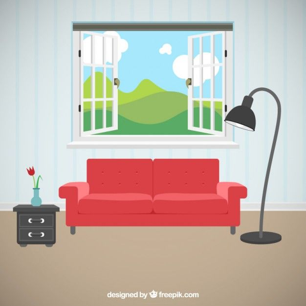 Living room with beautiful views Free Vector