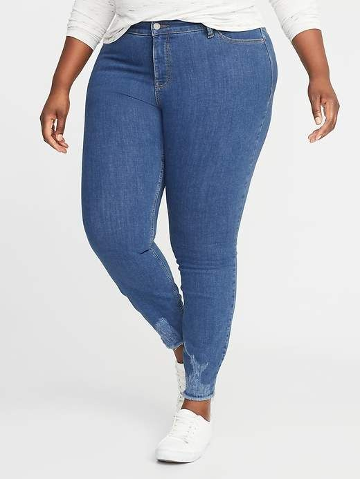 b7fa0139cfd77 Old Navy High-Rise Secret-Slim Pockets + Waistband Rockstar Plus-Size Super  Skinny Ankle Jeans