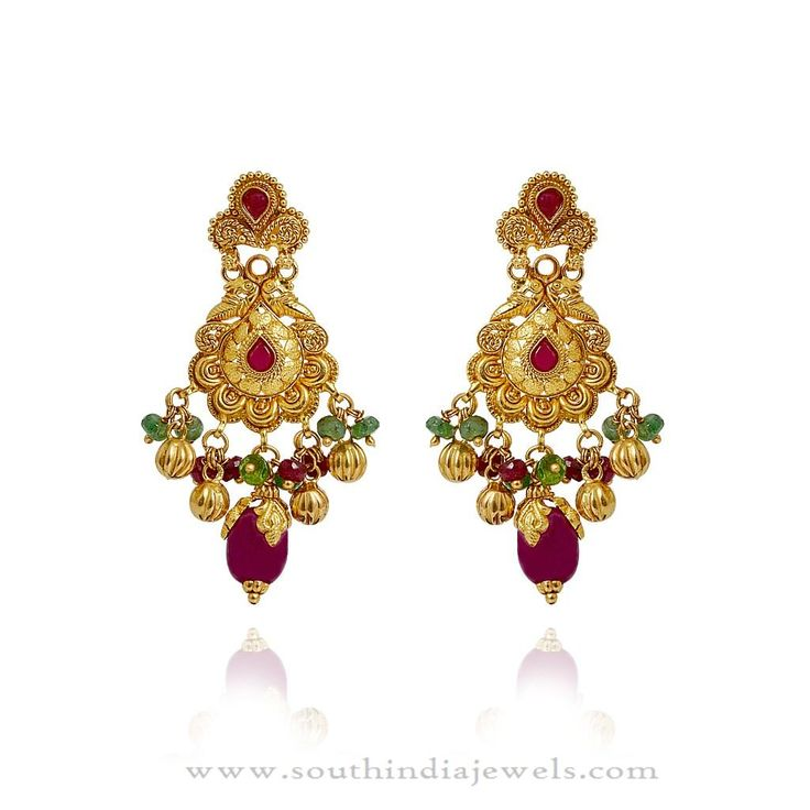Gold Earrings Designs, South Indian Gold Earrings Designs, Gold Earrings Models.