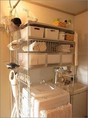 ランドリー : 片付けたくなる部屋づくり 天井近くまで収納なので、上の方を使う時、気を付けてくださいね。