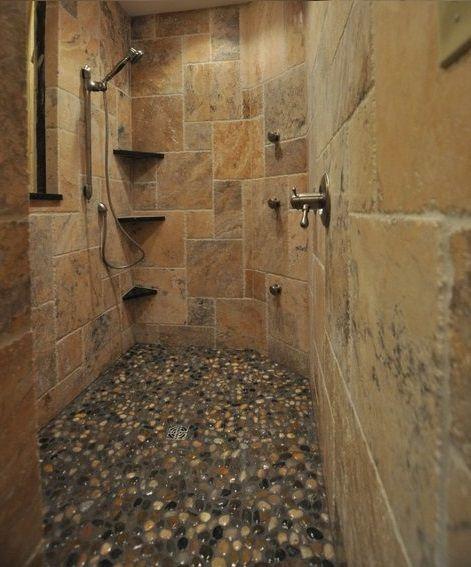 pebble flooring for shower bathroom pinterest