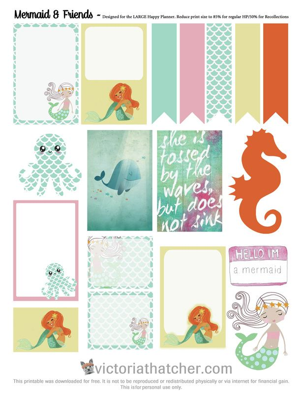 Free Printable Mermaid and Friends Planner Stickers | Victoria Thatcher