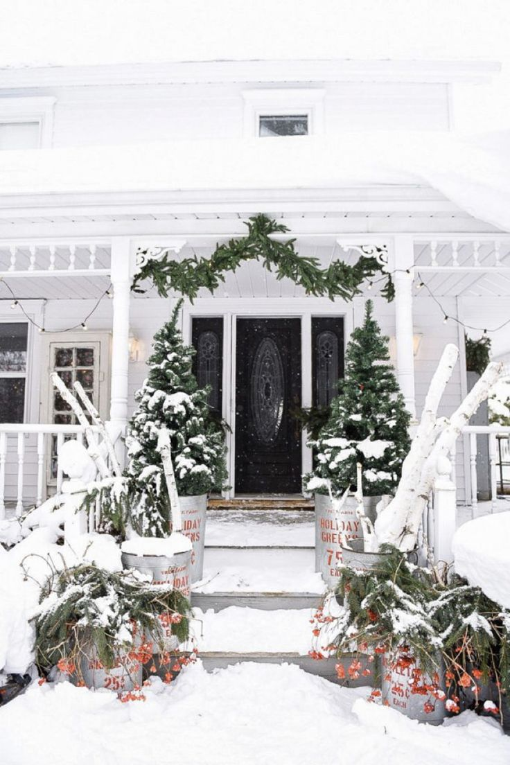 Rustic Christmas Porch Steps