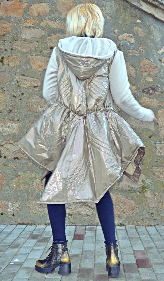 Metallic Greige Padded Jacket / Extravagant Metallic Greige Jacket / Asymmetrical Greige Jacket with Fur Hood and Sleeves TC83 JAZZ UP!