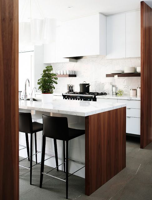 Maybe I don't hate some wood in the kitchen? walnut and white lacquer modern kitchen /