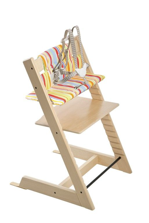 Made of solid European beech wood, its intelligent design grows with your child, providing a comfortable, ergonomic seat at any age. It has been made to fit right up to your dining table to bring your baby into the heart of your family, allowing your little boy or girl to eat, learn, play and develop alongside you. Stokke Tripp Trapp Chair