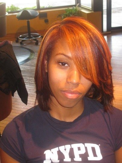 Red Copper Color With Highlights On Straighten Natural