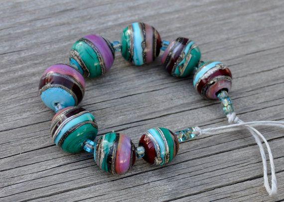 molten wrx beads of glass 8 lampwork glass winter beads set