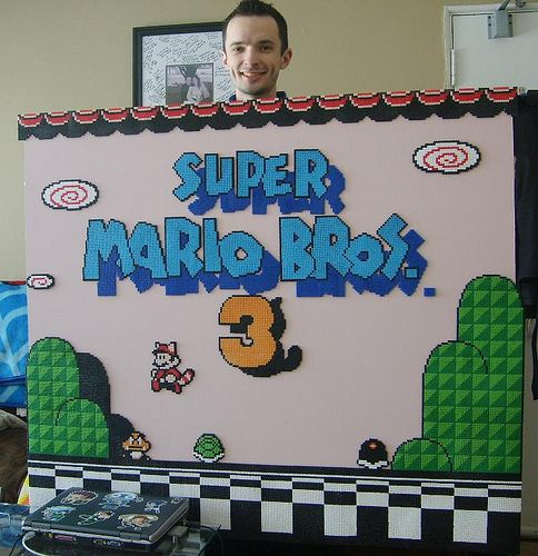 Mounted perler bead art of Super Mario Bros 3 on hardboard. Awesome!  www.shampooteacher.com