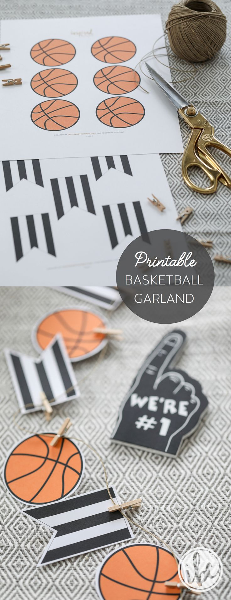 FREE printable basketball party garland download - basketball entertaining party decor ideas