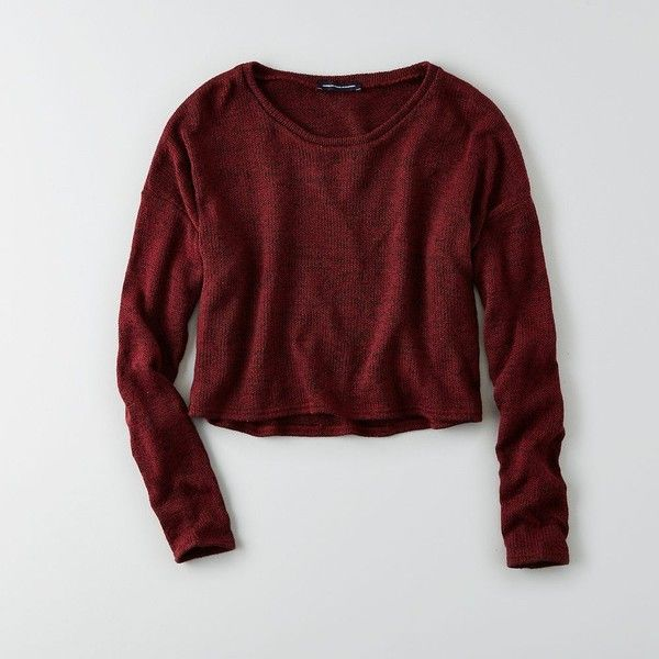 AEO Feather Light Cropped Sweater ($30) ❤ liked on Polyvore featuring tops, sweaters, shirts, maroon, crewneck sweater, red crew neck sweater, red crop top, crop top and red shirt