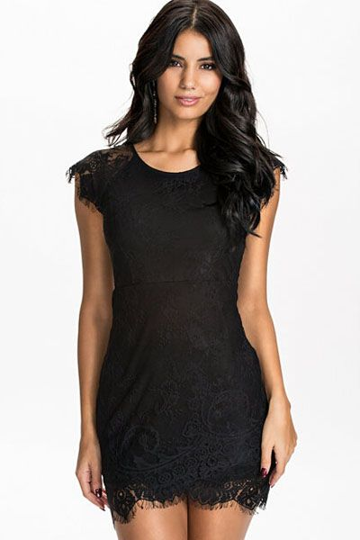 Black Eyelash Lace Mini Dress