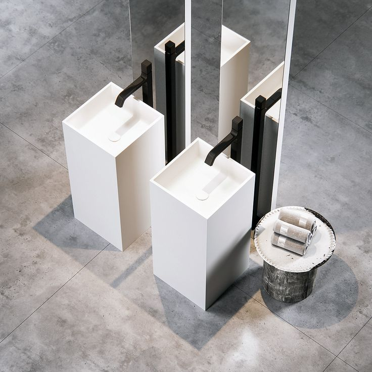 Clay CUBIC - Made to measure monolith in white Solid surface.
