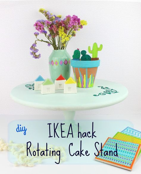 Diy IKEA hack - Rotated Cake Stand! Create your own amazing Rotating Cake Stand and use it as a serving disk or for your crafts! #ikea #ikeahack #cakestand #homedecor #diy #craft #tutorial #howto #chalk #stencil #doityourself