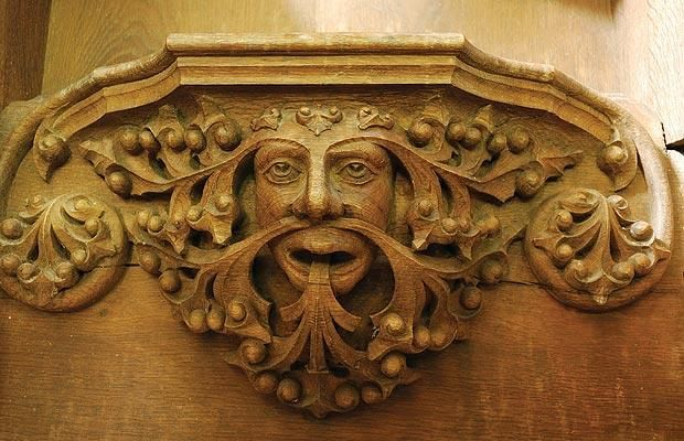 This example of a green man is from the choir stalls in St Peter's church in Wintringham Yorkshire