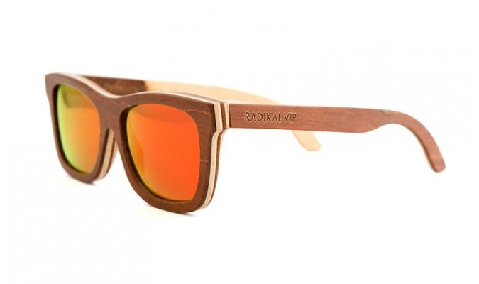 Natural skateboard #wood #caramel #brown frame and #mirrored sunset orange and #polarised lenses. #Skateboard wooden #sunglasses lovers and people who love #freedom! Do you love fresh air on the face and the wind blowing though your #hair! You are wild! You are #Rakidalvip!. #SKATE FLASH COFFEE #sunglasses