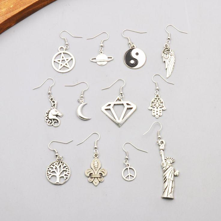Nueva joyería de moda de color plata árbol de la paz de la luna de cuero diseño de la mezcla del regalo pendiente de gota de las mujeres de la muchacha al por mayor E3134