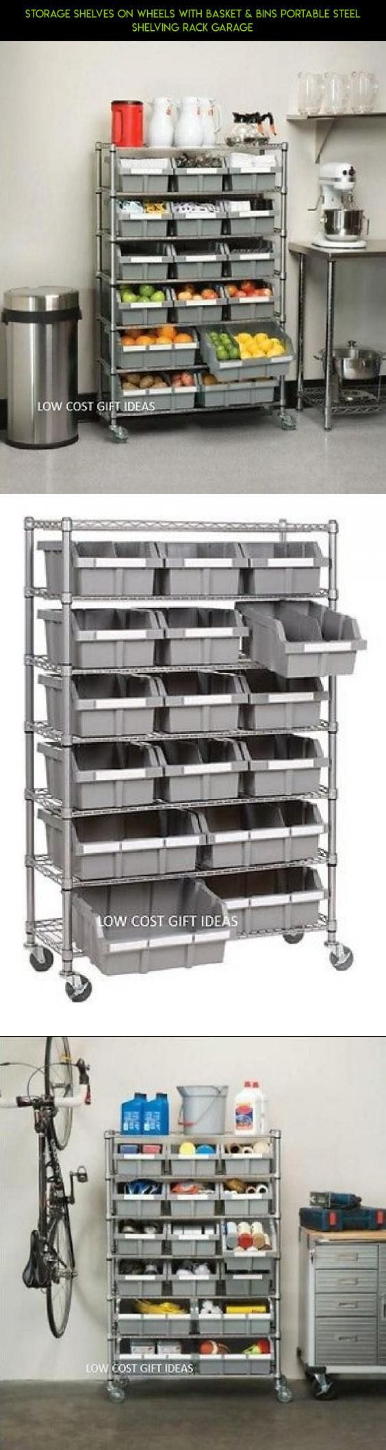 Storage Shelves On Wheels With Basket & Bins Portable Steel Shelving Rack Garage #wheels #shopping #technology #racing #gadgets #fpv #kit #racks #tech #products #drone #camera #with #storage #parts #plans
