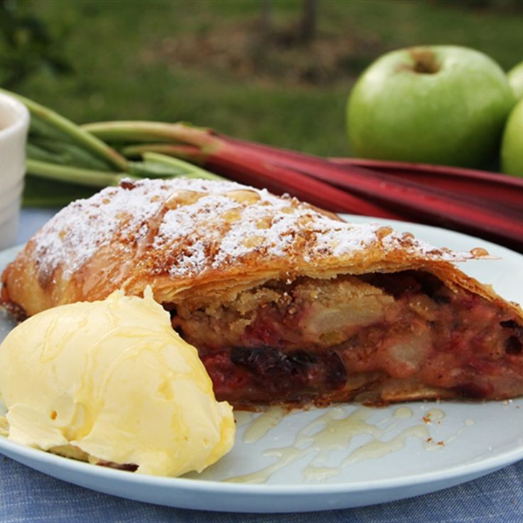 Try this Apple, Rhubarb and Honey Strudel with Home Made Filo recipe by Chef Paul West . This recipe is from the show River Cottage Australia.