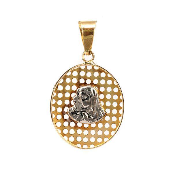 Μενταγιόν Παναγία δίχρωμο χρυσό Κ14  4979