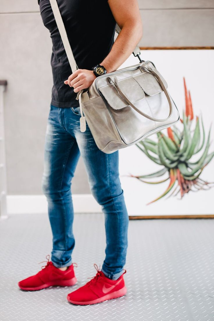 Unisex Briefcase - Grey Leather