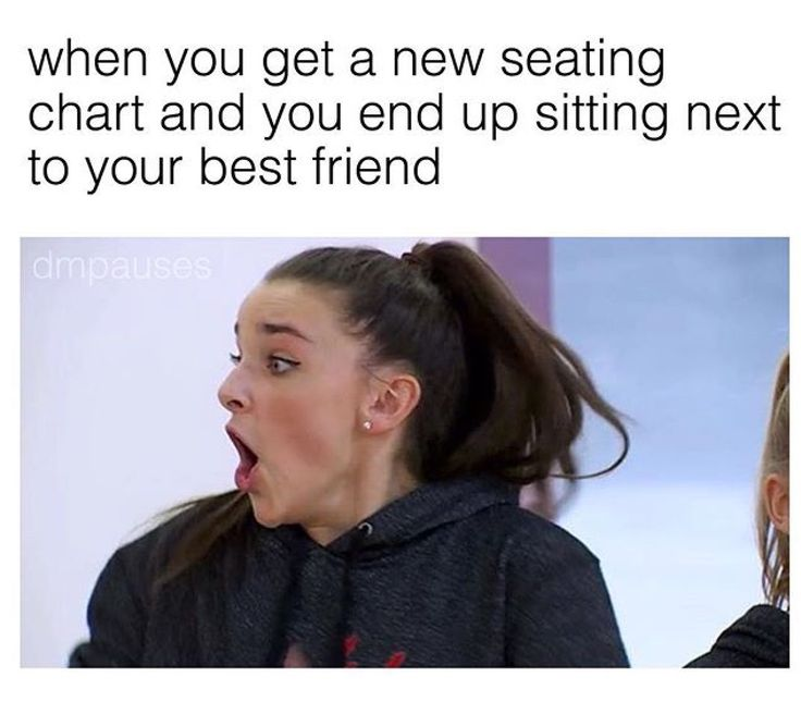 in my history class, i got sat in between my bff and crush and we kept it for the whole year, i was so happy