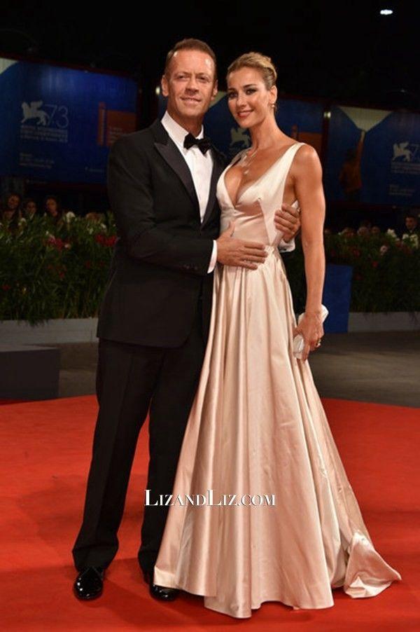 Rosa Caracciolo Champagne V-neck Satin Dress Venice Film Festival 2016