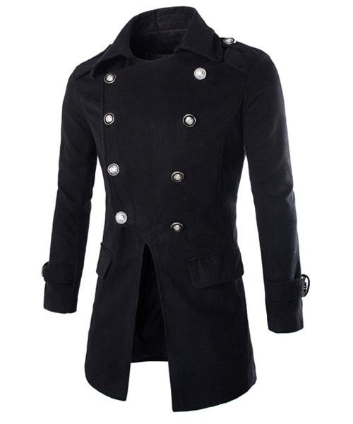 Long Sleeves Men's Peacoat