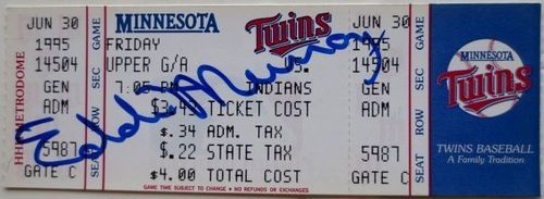 Eddie Murray Signed Minnesota Twins Official MLB Ticket June 30, 1995 JSA