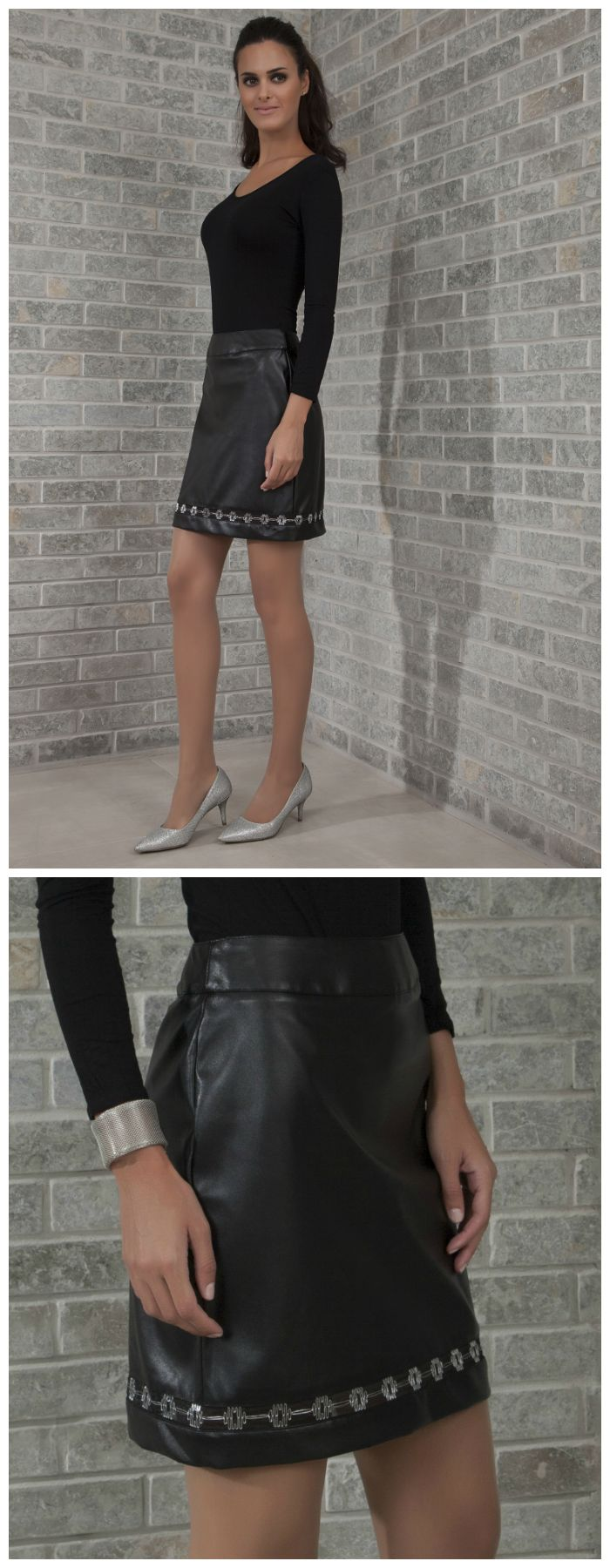 LAYLA Skirt : Black mini skirt, in a faux leather fabric  with a black/sliver mesh sheer embroidered panel.