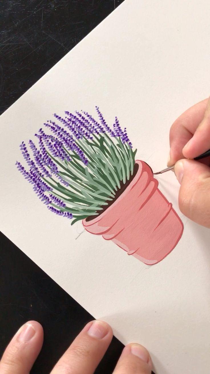 Gemälde Lavendel im Topf von Philip Boelter