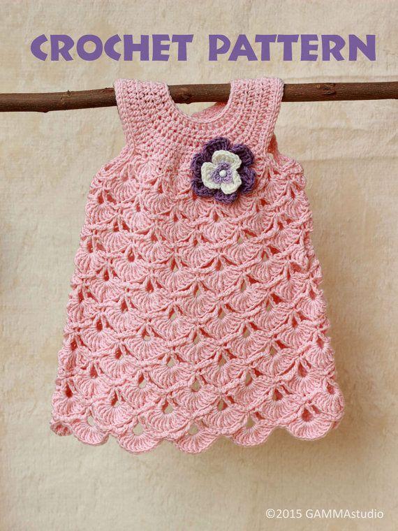 Baby CROCHET PATTERN Baptism baby girl dress pattern por GAMMAkids