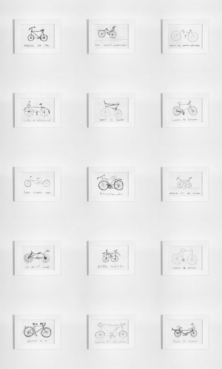 These bikes designed by Bologna-based artist Gianluca Gimini may appear sleek and serviceable, but most of them have a handful of fatal flaws, from missing parts to improper proportions. That's because they're based on sketches done by ordinary passersby. For over six years, Gimini has been asking strangers to draw bicycles on the spot, straight from memory.