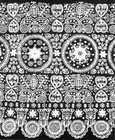 Tüllhimzés - Tulle Lace embroidery - Nyitra county (currently Slovakia)