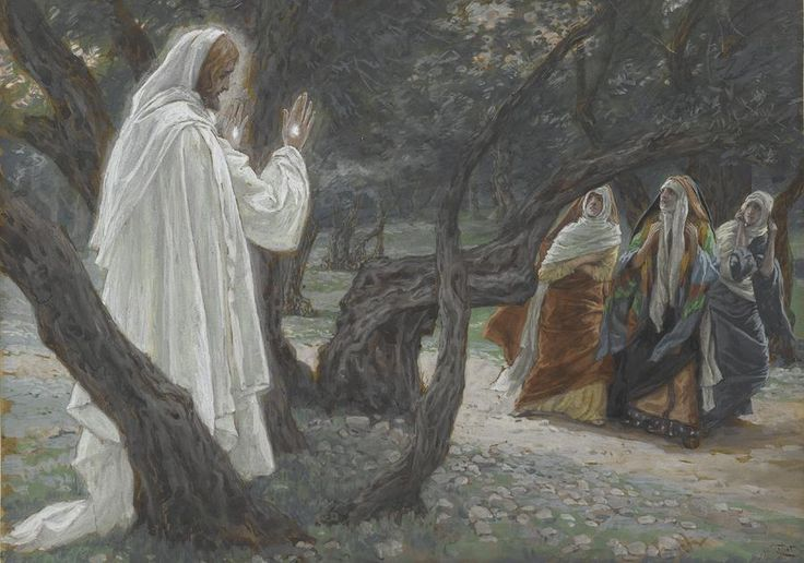 Jesus Appears to the Holy Women by Tissot {illustration from 'The Life of Our Lord Jesus Christ' ~ c.1886-94} w/c over graphite on paper