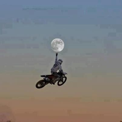 Motocross touching the moon.
