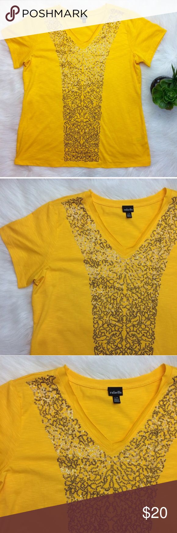"""Rafaella Yellow Sequined Short Sleeved Top Yellow short sleeves v-neck top by rafaella. Has Gold Sequined pattern down front center. Size Large. Armpit measurement is 20.5"""". Length is 25"""". Excellent condition. Perfect for summer! Rafaella Tops Tees - Short Sleeve"""