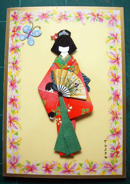 Japanese paper doll greeting card by tengds, via Flickr
