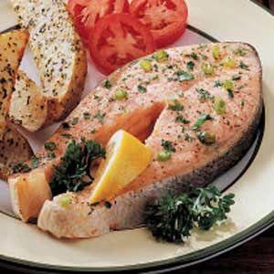 Special Salmon Steaks Recipe Ingredients 2 salmon or halibut steaks (8 ounces each) 2 tablespoons butter, melted 2 tablespoons lemon juice 1 green onion, sliced 1 tablespoon minced fresh parsley 1/4 teaspoon garlic salt 1/8 teaspoon lemon-pepper seasoning
