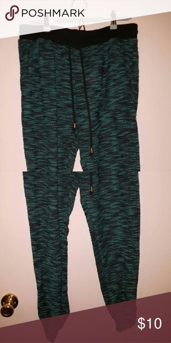 GREEN JOGGERS Fun Green Textured Jogging Pants Almost Famous Pants Track Pants & Joggers