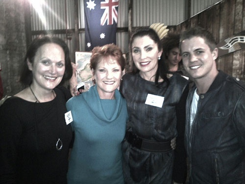 Australia's history challenge participants pose with Pauline Hanson and Johny Ruffo..