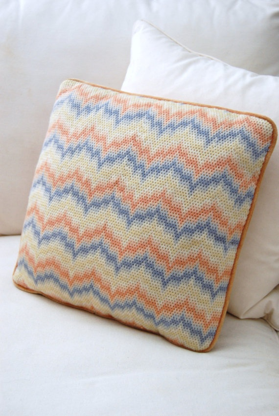 VTG Bargello Needlepoint Pillow by 5thstreetbazaar on Etsy, $39.00