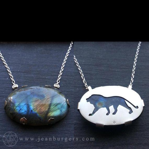 Lion Labradorite Pendant - Handcut sterling silver and labradorite - Spirit Animal Series