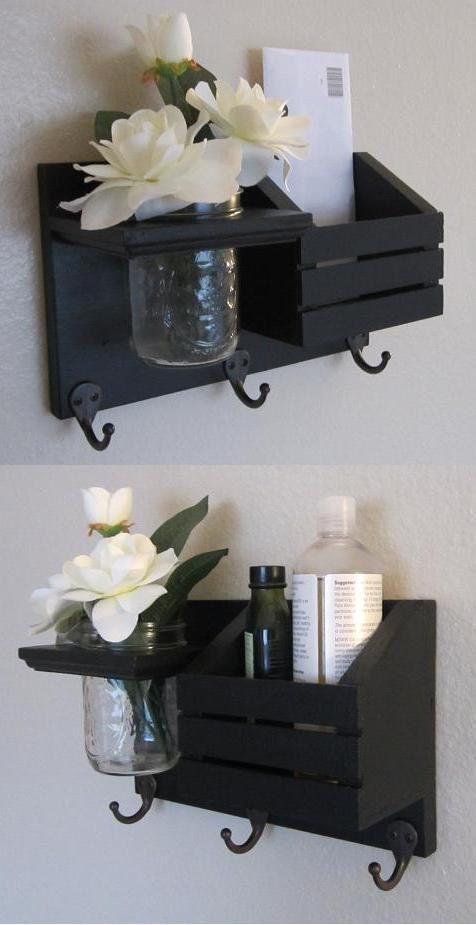 Shabby Chic Nautical Beach Cottage Flower Vase Key ring LARGE Mail holder Coat Towel Hat Rack Hanger Hooks in Black