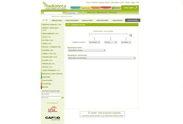 Radioteca. Programas de radio y podcast de países hispanohablantes; búsqueda por tema, país, fechas señaladas o popularidad. También tiene sección infantil. http://www.radioteca.net