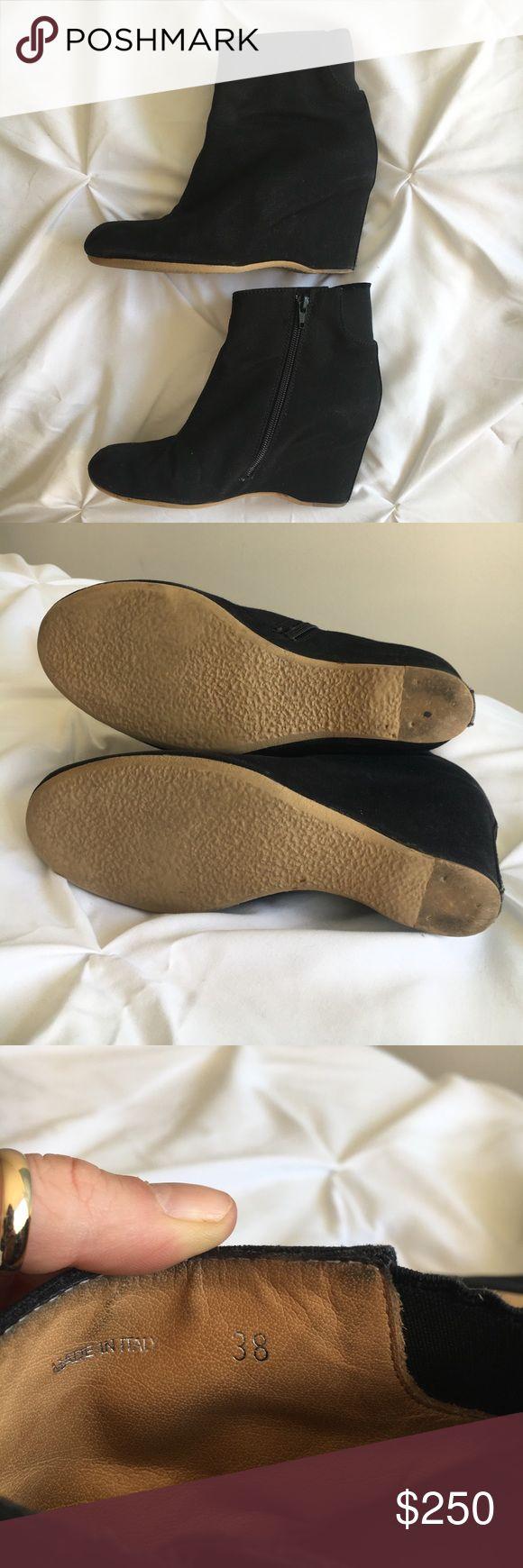 Mason Martin Margiela wedge booties Black khaki wedge bootie. Very comfortable, zipper on inside of boot, leather inside. Mason Martin Margiela Shoes Ankle Boots & Booties